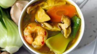 Shrimp Bok Choy and Turmeric Soup
