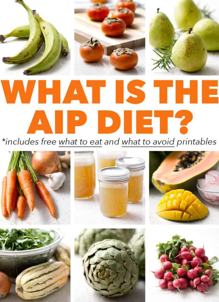 pictures of food with what is the aip diet text
