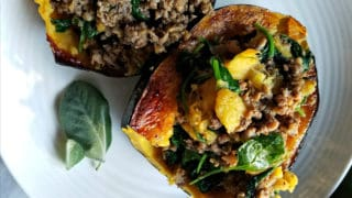 Chicken and Apple Sausage Stuffed Acorn Squash
