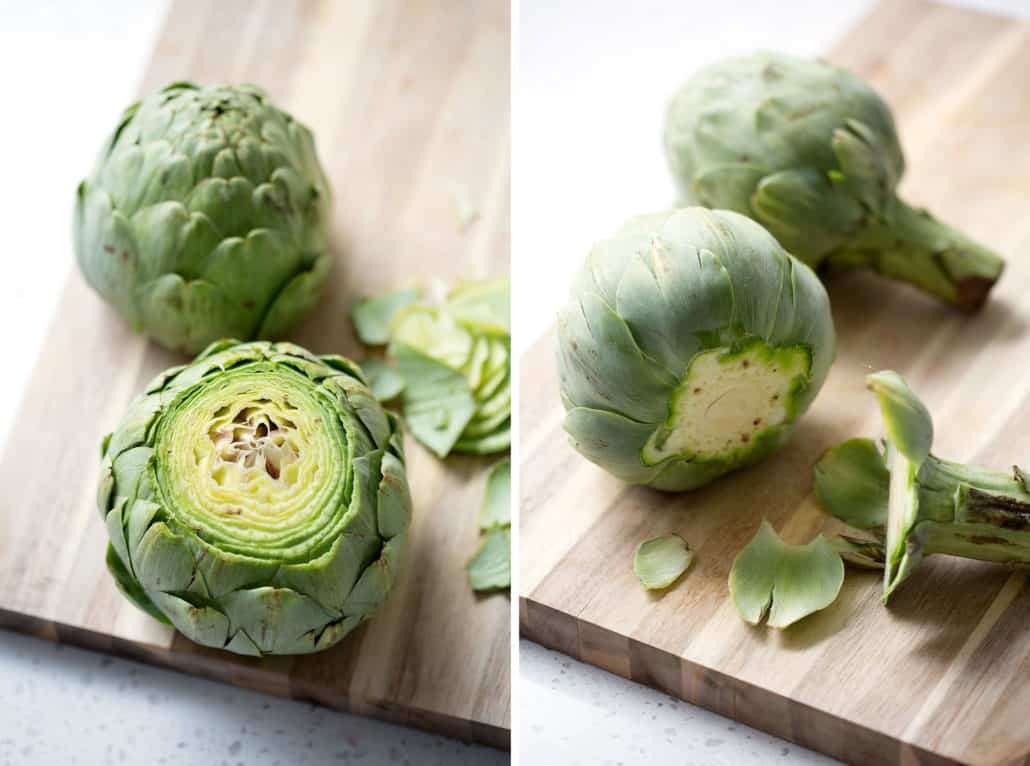 cut the top and stem off of artichokes