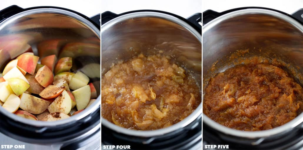 various pics to show different steps in making instant pot apple butter