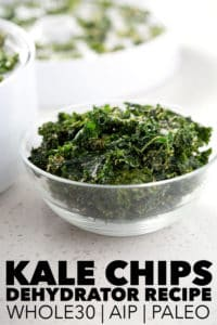bowl of kale chips in front of dehydrator on white counter
