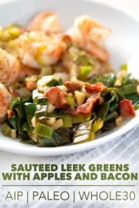 sauteed leek greens on plate with text