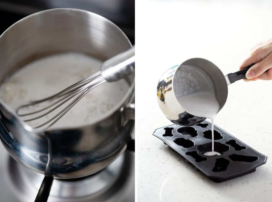 close up of whisk in small saucepan and pouring milk into mold