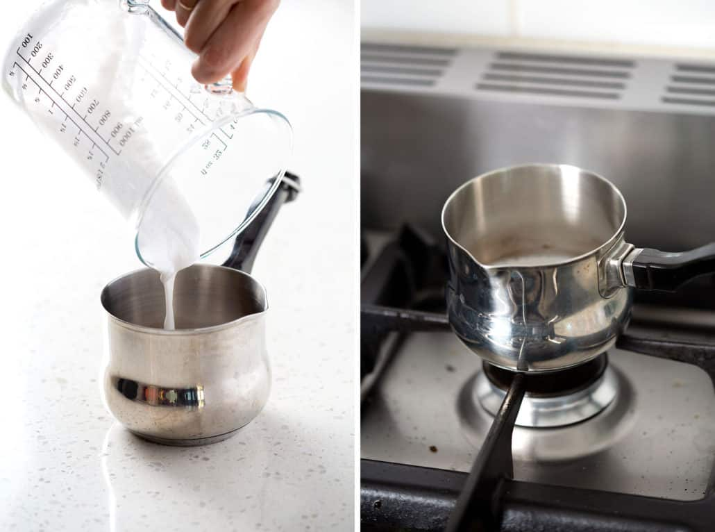 pouring coconut milk into small saucepan and saucepan on stovetop
