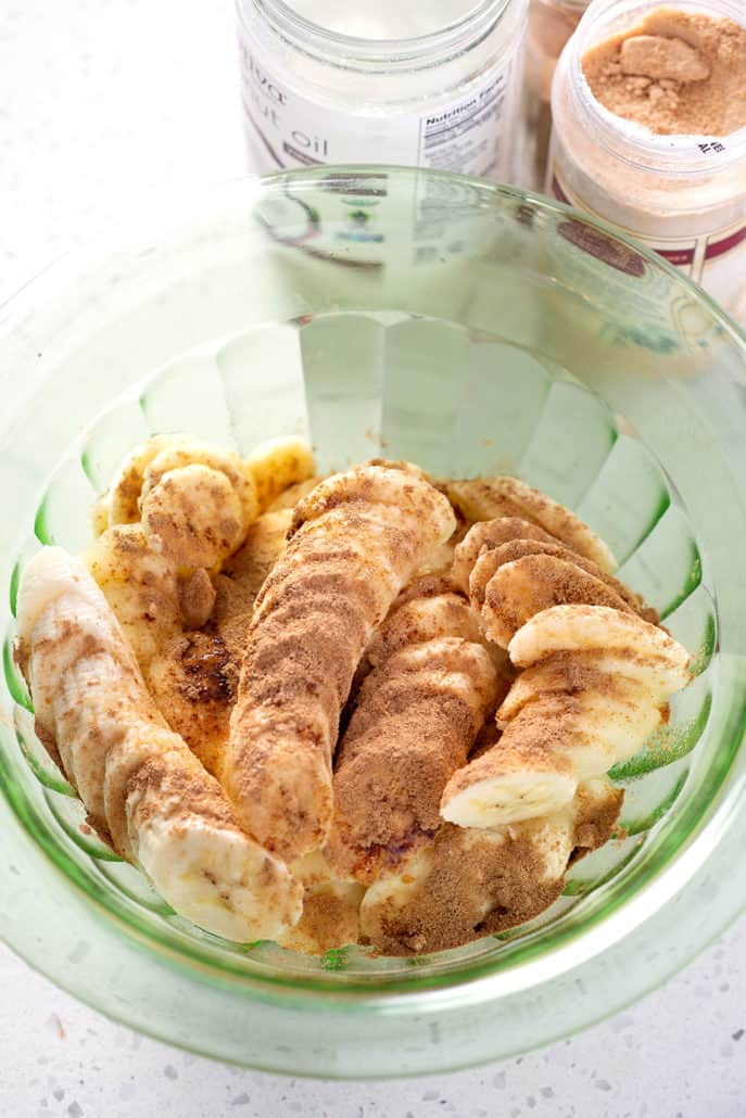 bowl of banana slices with cinnamon on top from above