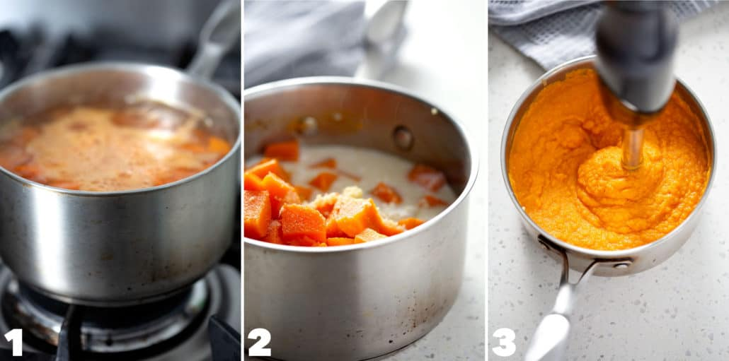 step by step photos for making mashed sweet potatoes