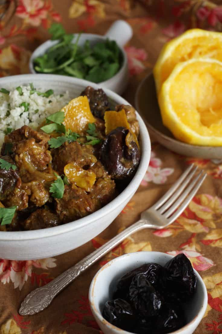 "Lamb Tagine with Orange and Prunes, Cilantro ""Butter Couscous"" {AIP, GAPS, SCD, Paleo}"