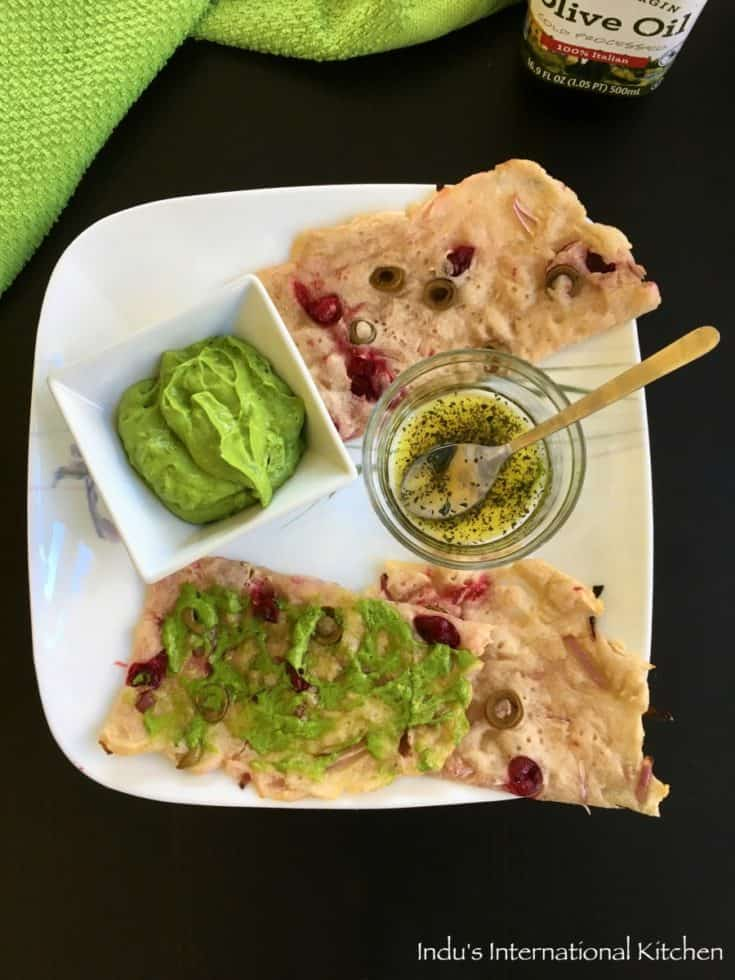 Olives and Cranberries Stuffed Flatbread with Avocado Spinach Basil Pesto(Paleo, Vegan, AIP)