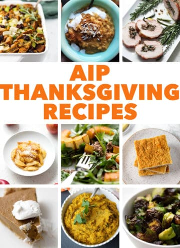 multiple images of AIP Thanksgiving recipes