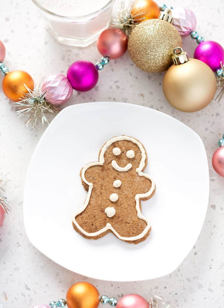 aip gingerbread cookie on white plate surrounded by christmas decorations