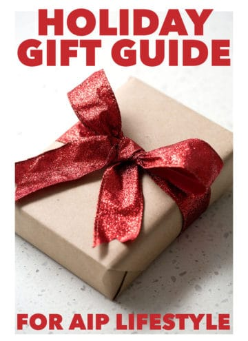 package with big red bow and the text holiday gift guide for aip lifestyle
