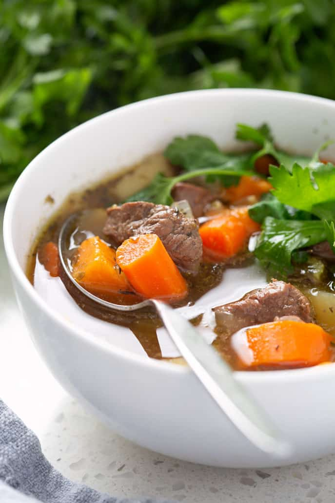 close up of bowl of aip beef stew