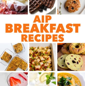 collage of aip breakfast recipes round up