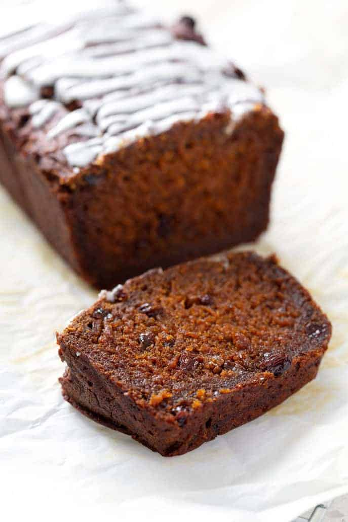 slice of aip pumpkin bread with raisins with loaf