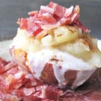 AIP / Apples and Bacon Loaded Sweet Potato / Egg Free Gluten Free Breakfast Alternative