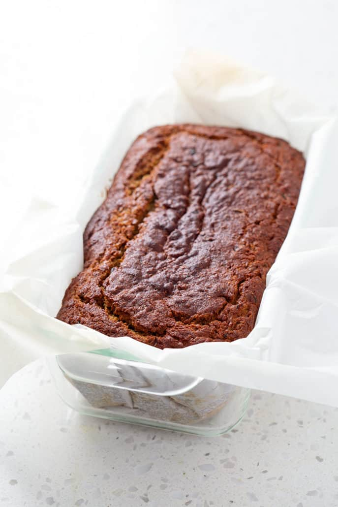 aip zucchini bread in parchment lined loaf pan