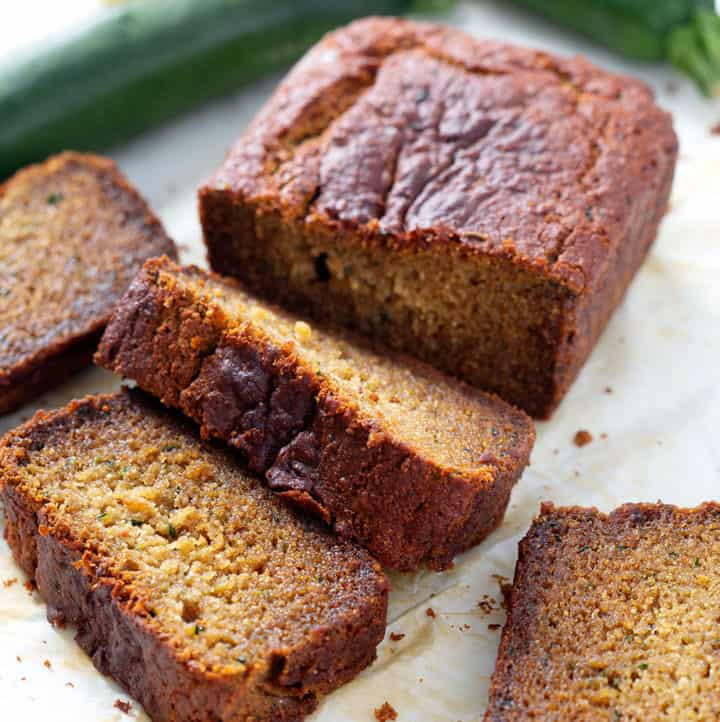 slices of aip zucchini bread with lemon and zucchini