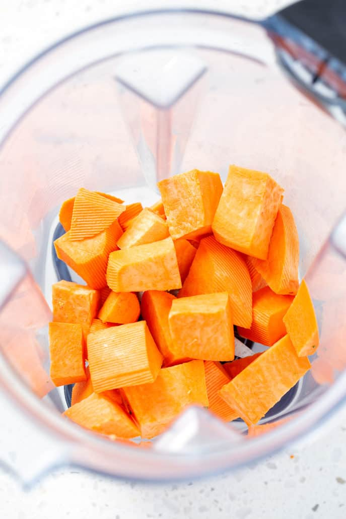 chopped sweet potato in blender