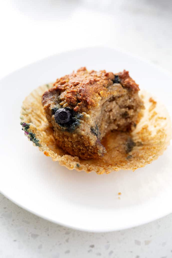 AIP Blueberry Muffin with bite taken out of it