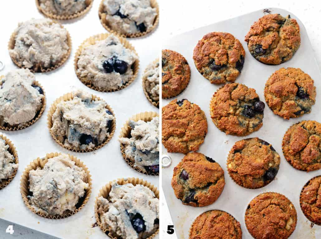 step by step photo instructions for how to make AIP Blueberry Muffins