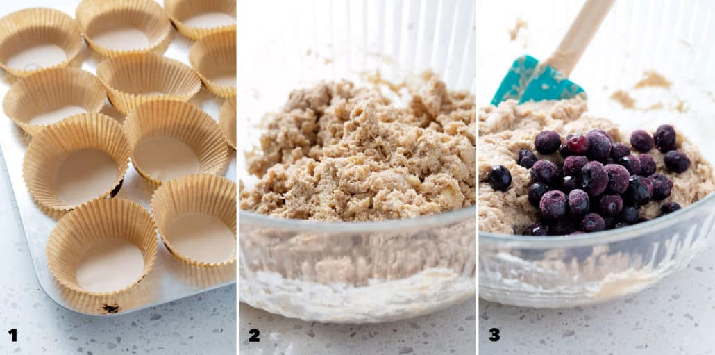step by step photo instructions of how to make aip blueberry muffins