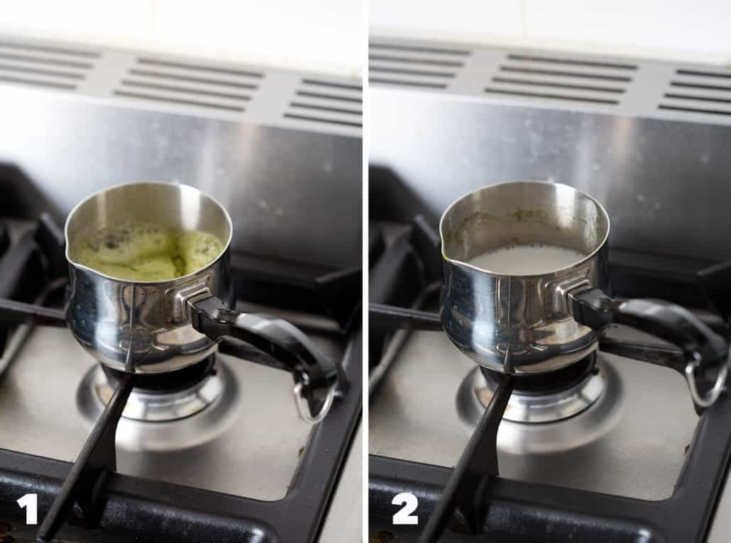 step by step photo instructions of AIP Coconut Matcha Latte