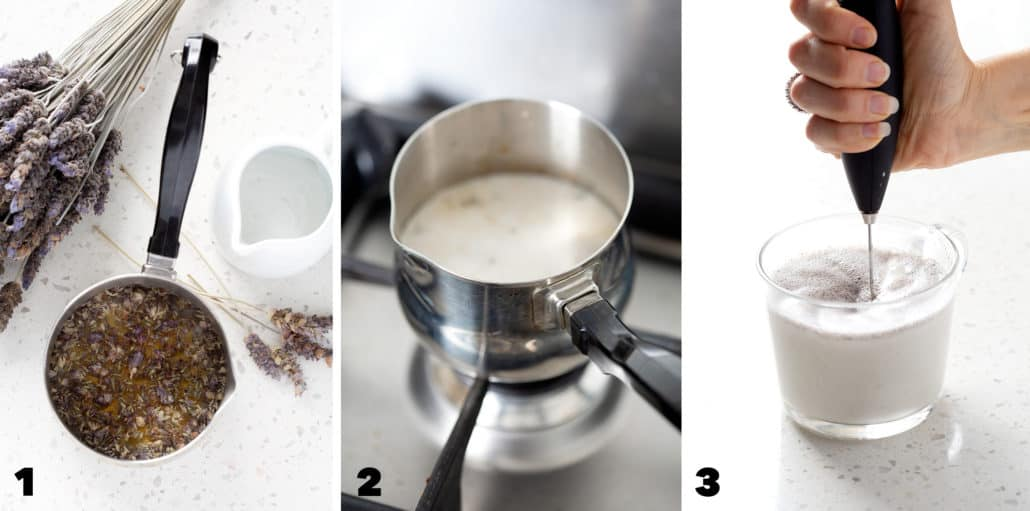 step by step photos of how to make lavender milk tea