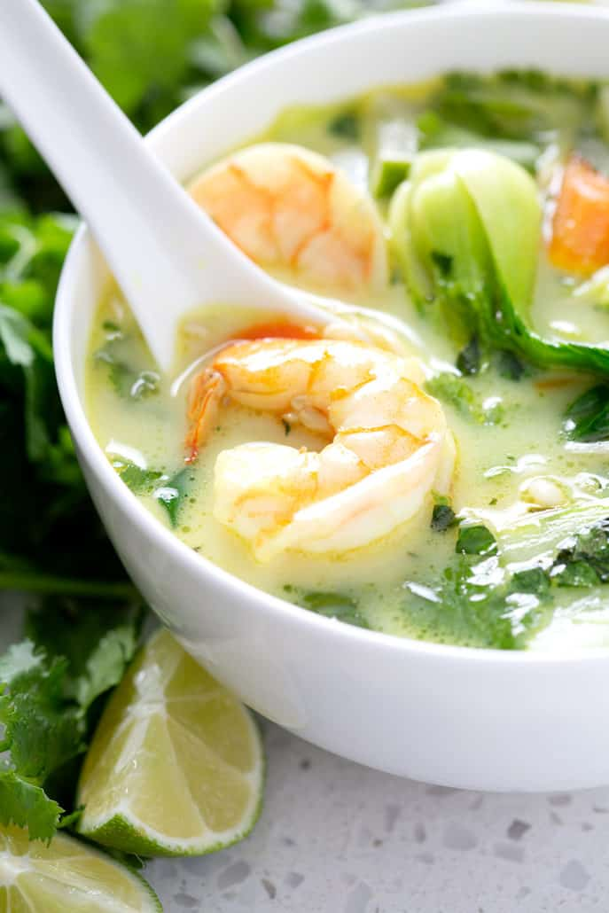 close up of shrimp from AIP Coconut Milk Curry Soup