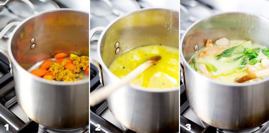 step by step photo instructions for making AIP Coconut Milk Curry Soup