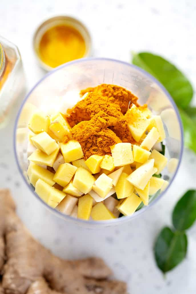 ingredients for AIP Thai Yellow Curry Paste in container for immersion blender