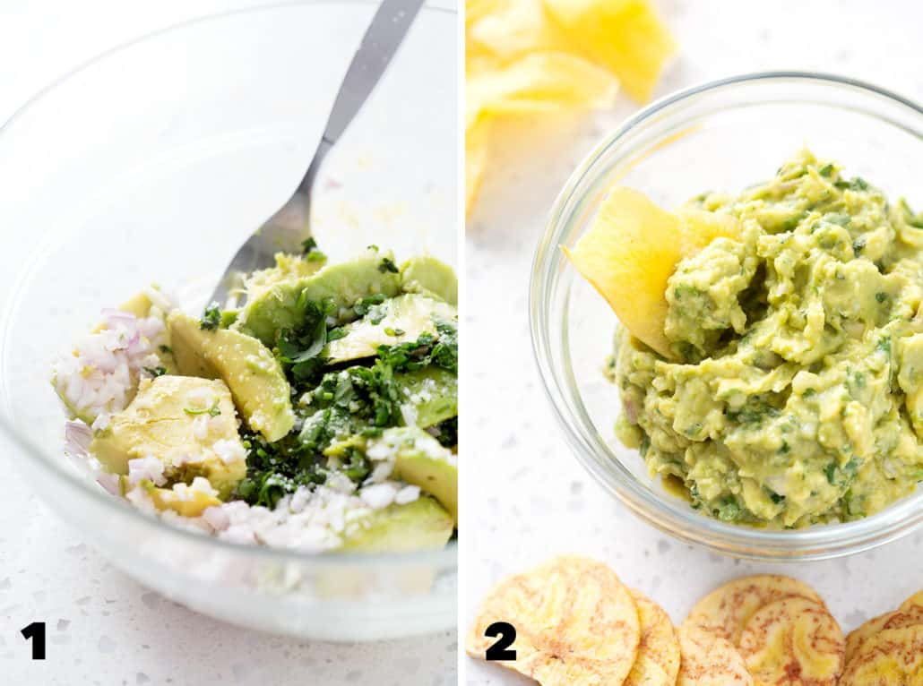 step by step photos for making AIP guacamole