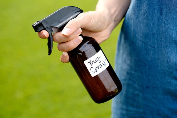holding a dark amber glass spray bottle with the words bud spray