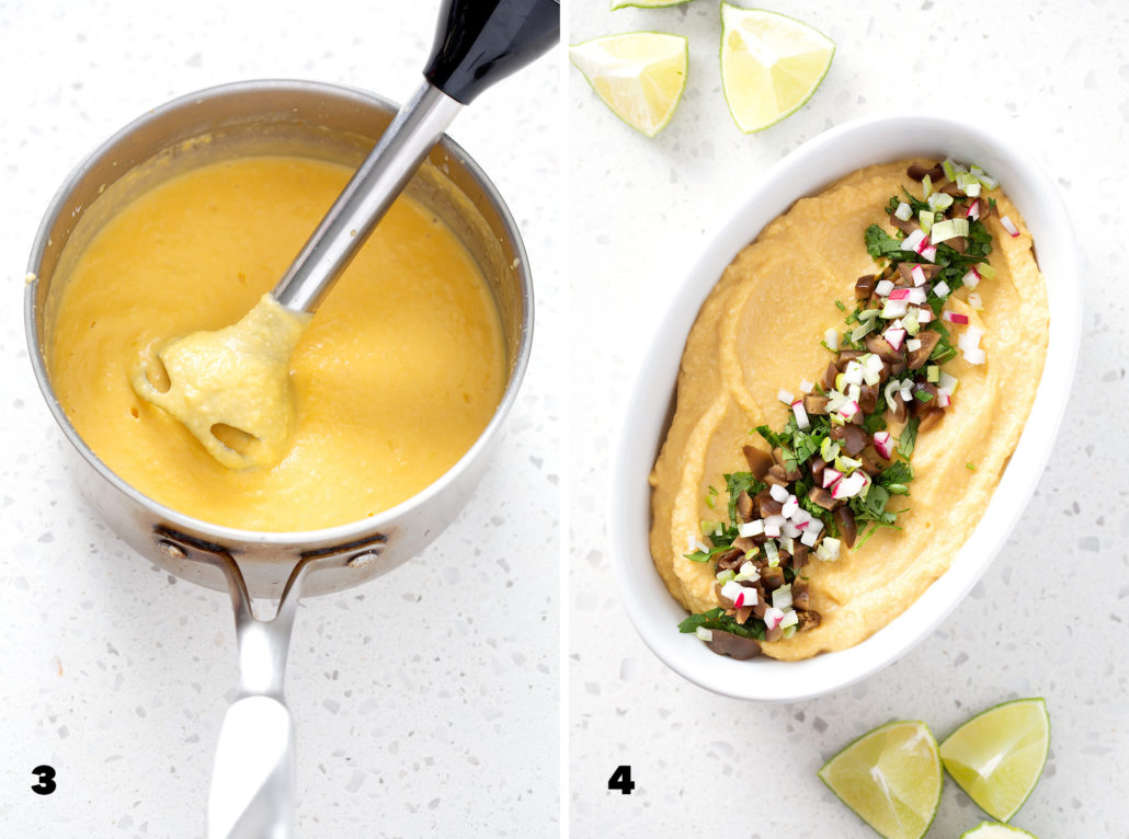 steps 3. and 4 for making AIP Nacho 'Cheese' Sauce