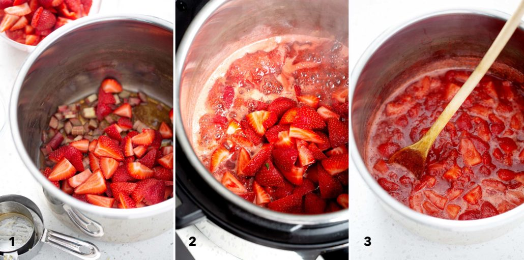 step by step instruction for how to make AIP Instant Pot Strawberry Compote