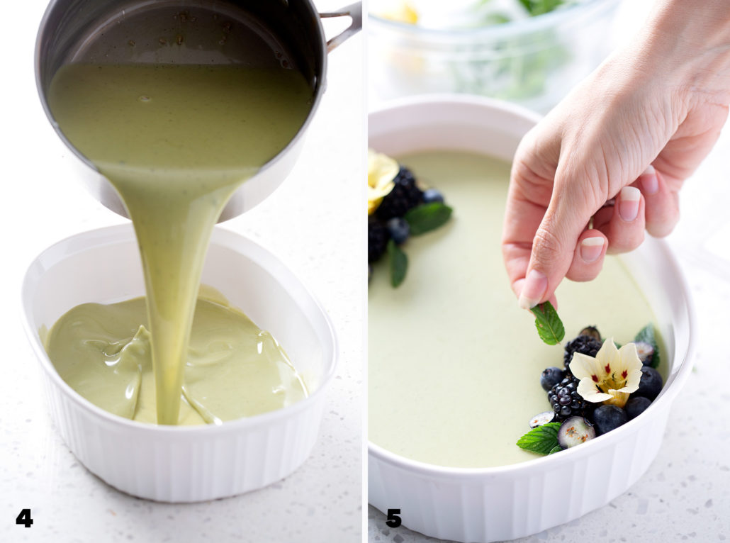 steps to making Coconut Matcha Panna Cotta
