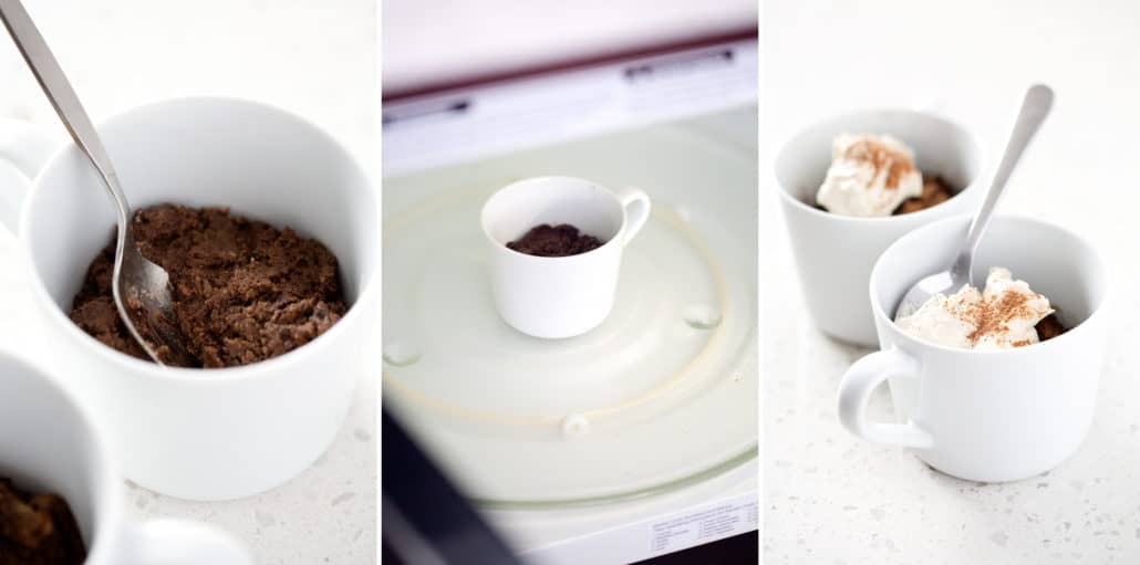 step by step instructions for making AIP Chocolate Mug Cake
