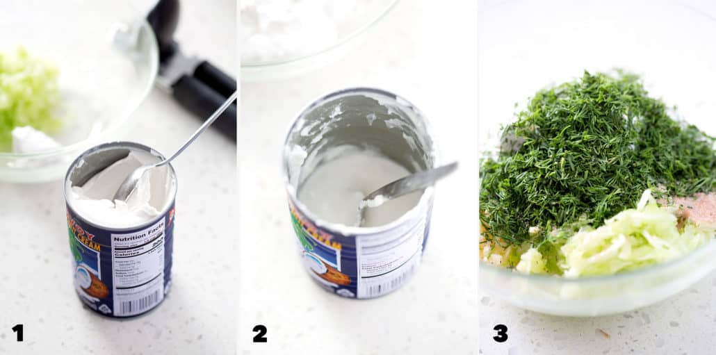 step by step in making Dairy Free Tzatziki