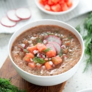 bowl of AIP Watermelon Gazpacho