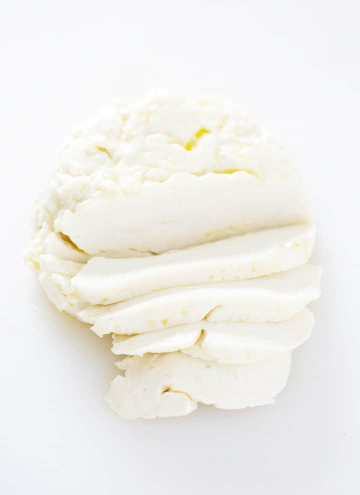 sliced ball of AIP Mozzarella Cheese