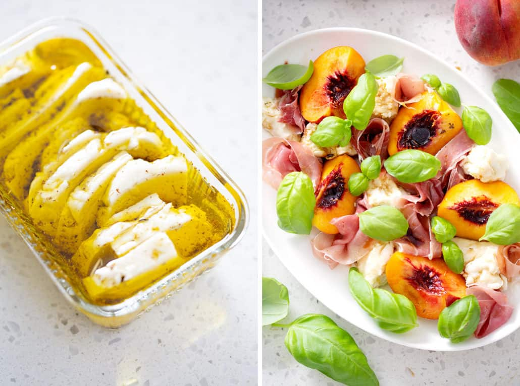 Marinated AIP Mozzarella Cheese and Peach and Prosciutto Caprese Salad