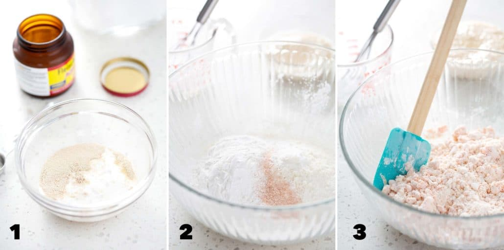 steps one, two and three for making AIP Focaccia Bread