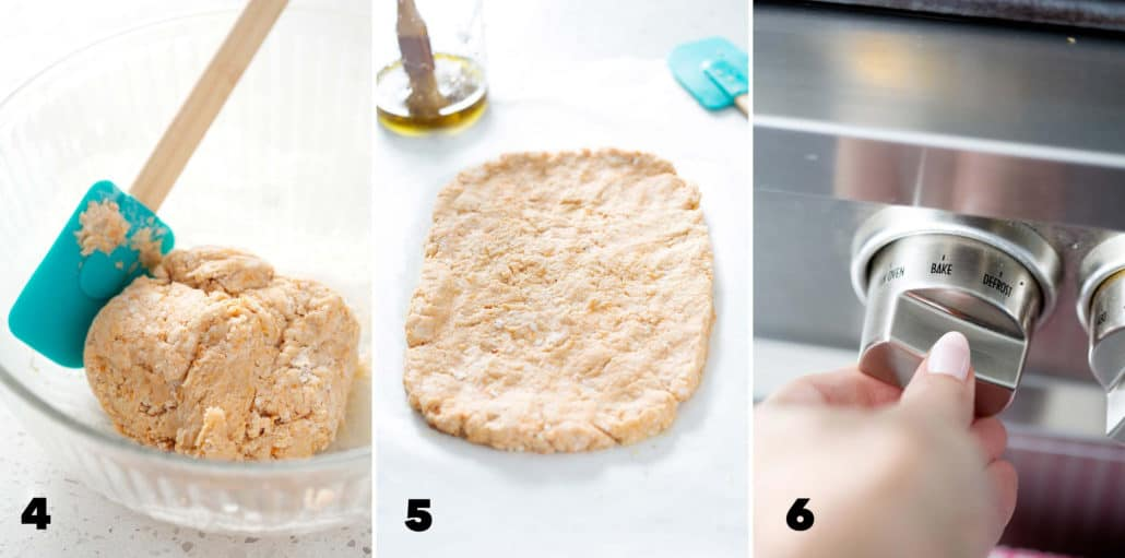 step 4, 5 and 6 for making AIP Focaccia Bread