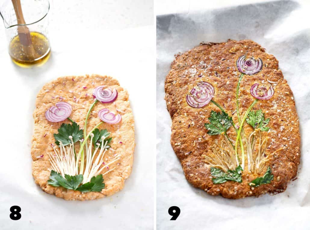 steps 8 and 9 for making AIP Focaccia Bread