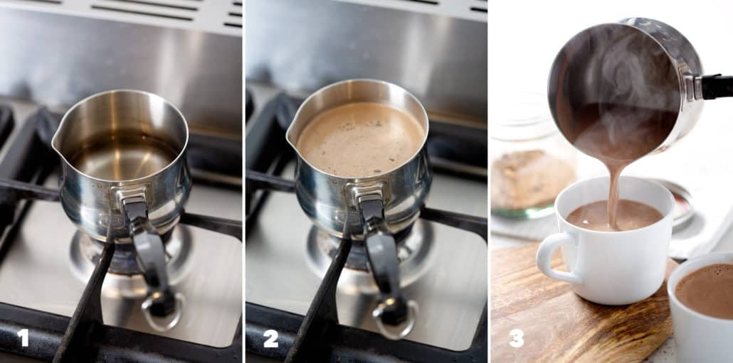 step by step instructions for making AIP Hot 'Chocolate'