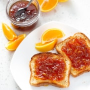 toast with Instant Pot Orange Marmalade with oranges