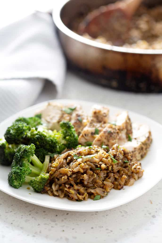 AIP Rice and Pasta (Rice 'a' Roni copycat) on plate with chicken and broccoli
