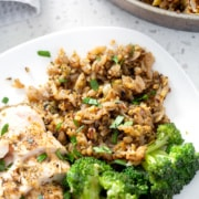 AIP 'Rice' and Pasta (Rice a Roni copycat) on plate from above with chicken and broccoli.