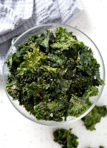 bowl of kale chips (dehydrator recipe)