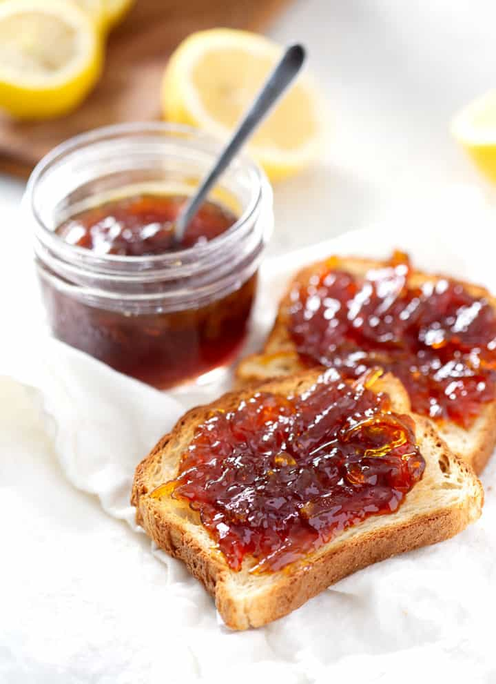 toast with Lemon Honey Marmalade on white towel
